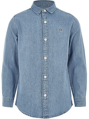 River Island Boys mid blue wasp embroidered denim shirt