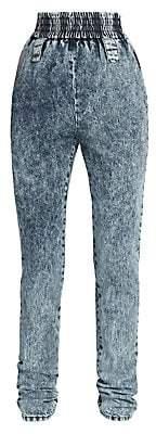 Miu Miu Women's Acid Wash Elastic Waist Jeans