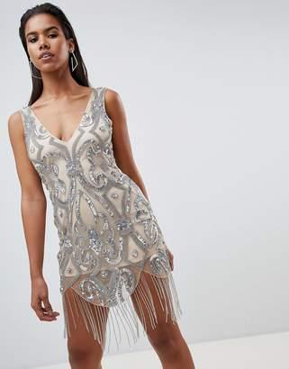 Rare London Embellished Fringe Mini Dress