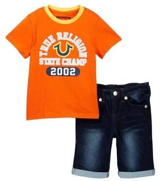 True Religion Graphic Tee & Denim Shorts Set (Toddler Boys)