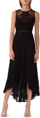 ML Monique Lhuillier Lace High/Low Evening Dress