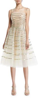 Oscar de la Renta Sequin-Striped Tulle Fit-&-Flare Dress