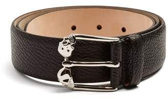 Alexander McQueen Twin Skull Leather Belt - Mens - Black