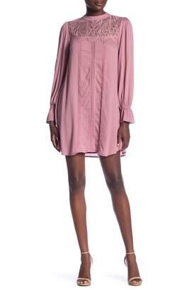 Taylor & Sage Long Sleeve Solid Lace Yoke Dress