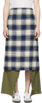 R 13 Navy and Ecru Plaid Apron Skirt