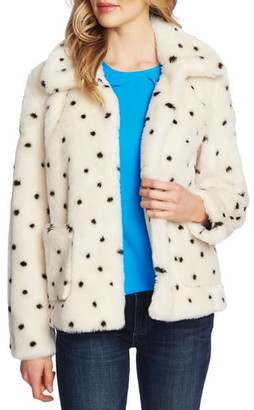 CeCe Snow Leopard Faux Fur Coat