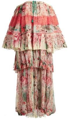 Roberto Cavalli Phoenix-print tiered pleated silk-chiffon gown