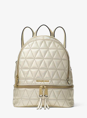 Michael Kors Rhea Medium Metallic Quilted-Leather Backpack