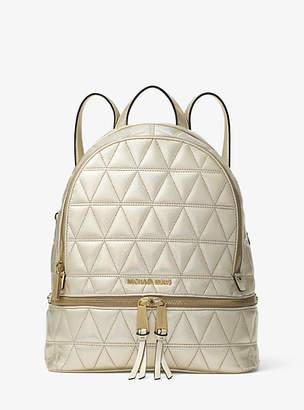 Michael Kors Rhea Medium Metallic Quilted-Leather Backpack