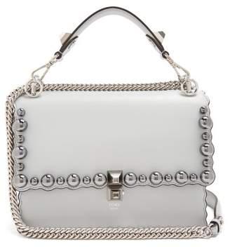 Fendi Kan I Leather Cross Body Bag - Womens - Light Blue