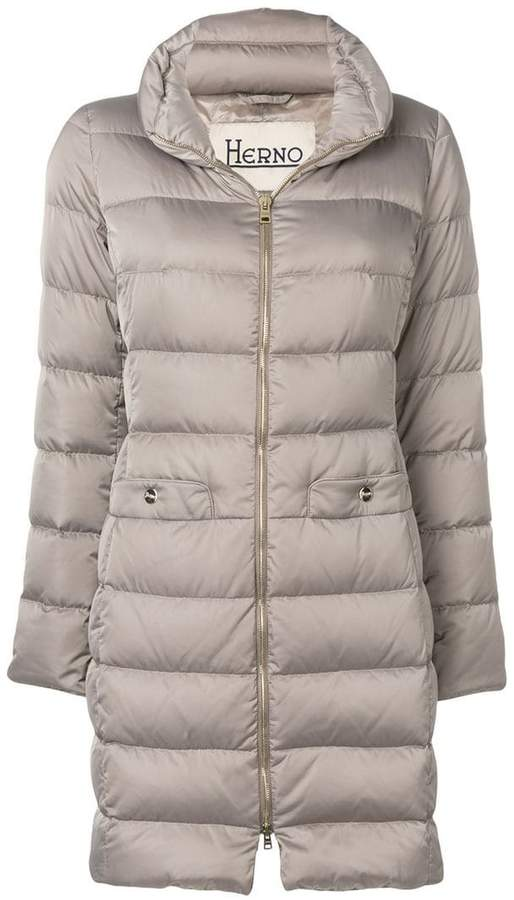 zipped padded coat