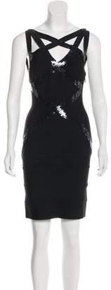 Herve Leger Embellished Sleeveless Mini Dress