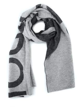 Dondup Two Tone Wool Blend Logo Lettering Maxi Scarf
