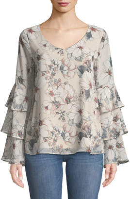 West Kei Ruffle-Tiered Sleeve Floral Blouse