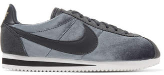 Nike Classic Cortez Suede And Leather-trimmed Velvet Sneakers - Anthracite