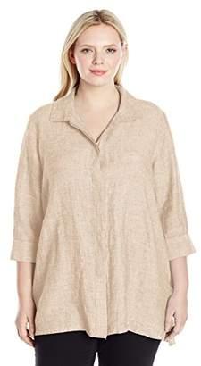 Foxcroft Women's Plus Size 3/4 Sleeve Skye Chambray Linen Tunic