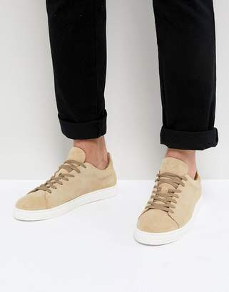 Selected Sneakers In Sand Suede With White Sole