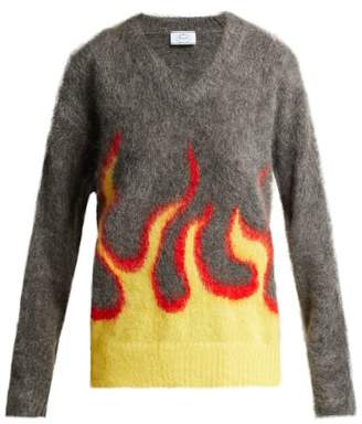 Flame Intarsia Mohair Blend Sweater - Womens - Grey Multi