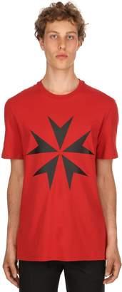 Neil Barrett Star Printed Cotton Jersey T-Shirt