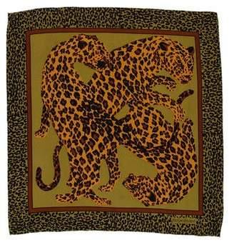 Saint Laurent Animal Print Silk Scarf