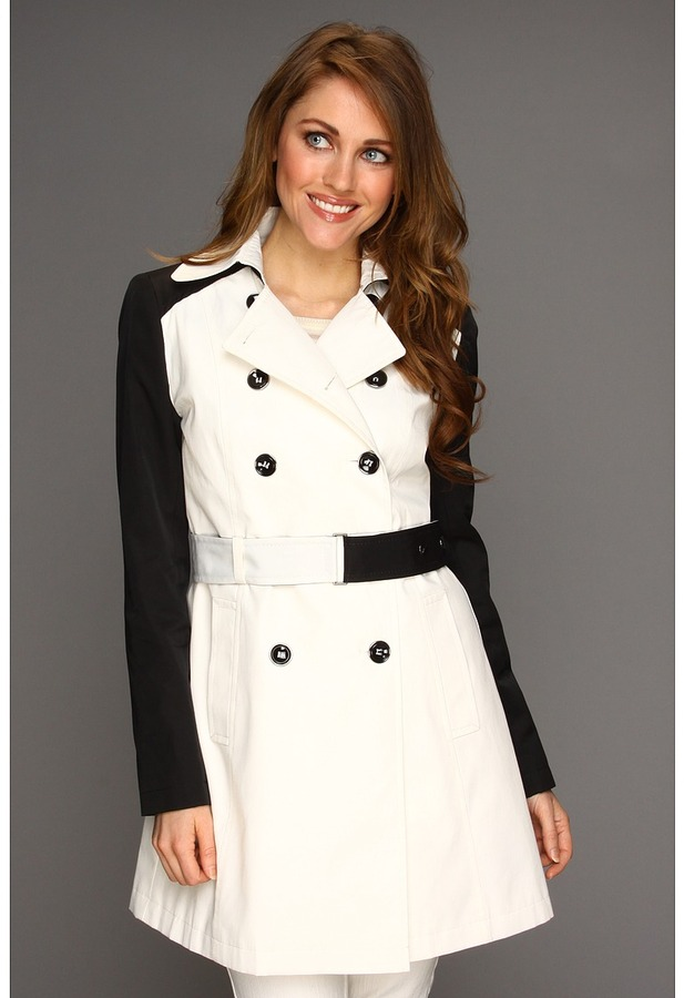 DKNY Double Breasted Trench w/ Contrast Sleeve 06630-YV Women's Coat