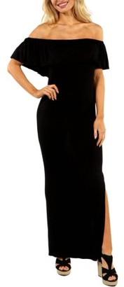 24/7 Comfort Apparel Women's Long Cool Woman Off the Shoulder Dress