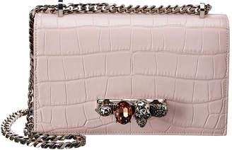 Alexander McQueen Jeweled Croc-Embossed Leather Shoulder Bag
