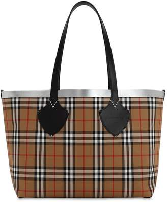 Burberry Giant Checked Cotton & Leather Tote Bag