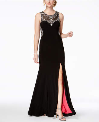 Betsy & Adam Embellished Contrast-Lined Gown