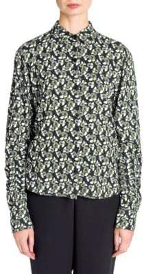 Marni Floral Button Front Cotton Blouse