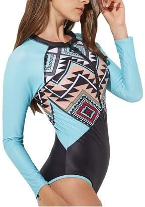 fec93a49cfe31 tengweng Women Long Sleeve Aztec Print Zip Front One Piece Swimsuit Rash  Guard Swimwear L