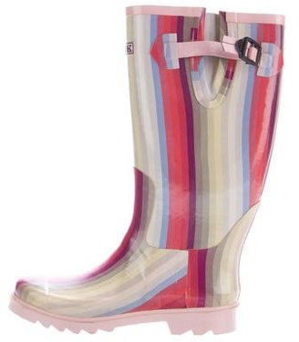 Thomas Pink Stripe Rain Boots $85 thestylecure.com
