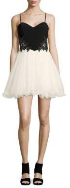 Blondie Nites Two-Tone Sleeveless Embellished Fit-and-Flare Dress