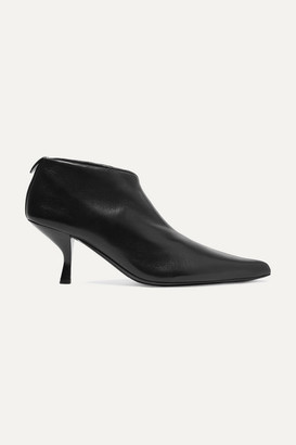 The Row Bourgeoise Leather Ankle Boots - Black