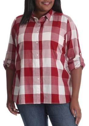 Lee Women's Plus Long Sleeve Plaid Woven Shirt