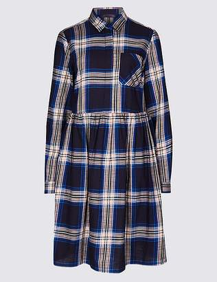 Marks and Spencer Pure Cotton Checked Drop Waist Dress