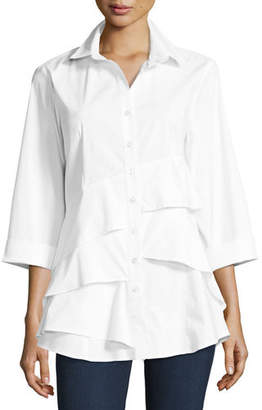 Finley Plus Size Jenna Tiered-Ruffle Long Blouse