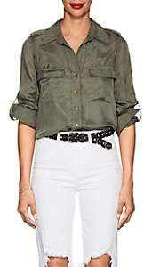 L'Agence Women's Lunetta Washed Twill Blouse - Green