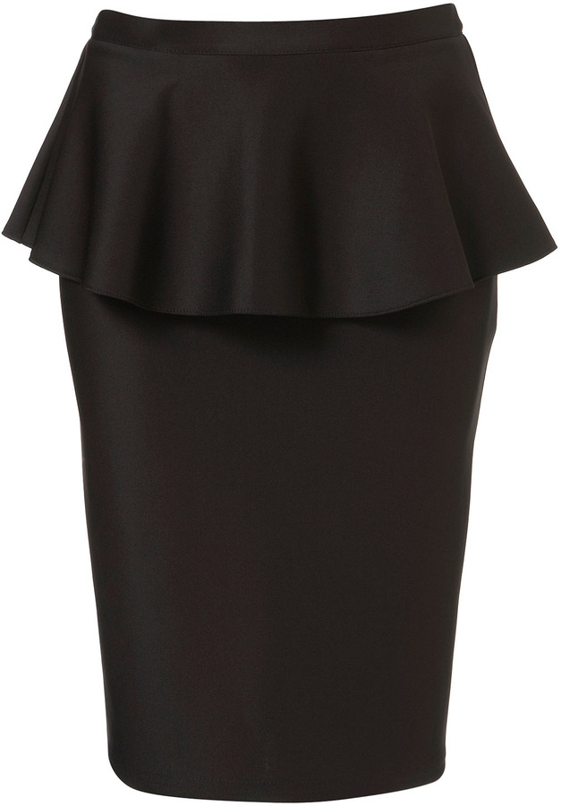 Topshop Tall Scuba Peplum Skirt