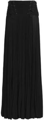 Roberto Cavalli Embellished Pleated Crepe De Chine Maxi Skirt