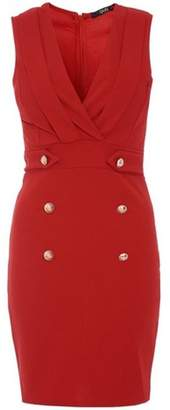 Dorothy Perkins Womens *Quiz Red Crepe Military Bodycon Dress