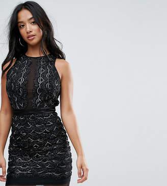 TFNC Petite Petite High Neck Mini Scallop Sequin Dress