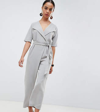 964529182d5 Asos DESIGN Petite Wrap Jumpsuit With Self Belt