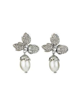 Oscar de la Renta Pave Leaf Acorn Earrings