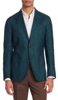 Ermenegildo Zegna Men's Silk& Cashmere Sportcoat - Aqua - Size 56 (46) R