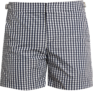 ORLEBAR BROWN Bulldog gingham mid-length swim shorts $205 thestylecure.com