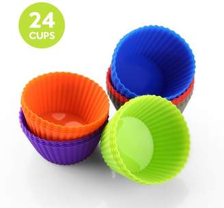 Zanmini Silicone Cupcake Liners/Baking Cups - 24 Vibrant Muffin/Cupcake Molds