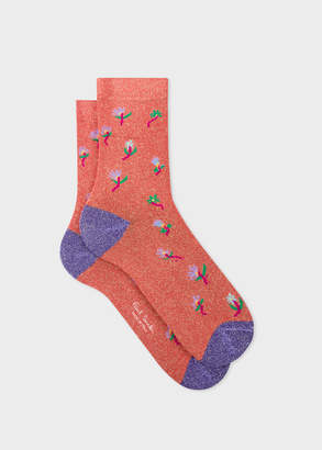Paul Smith Women's Coral 'Daisy' Glitter Socks
