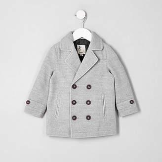 River Island Mini boys grey wool blend pea coat
