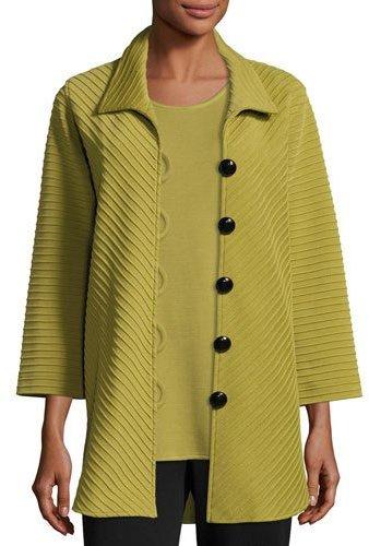 Caroline Rose Ottoman Knit Easy Shirt, Leaf, Plus Size